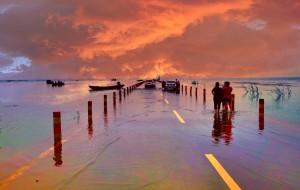 【鄱阳湖图片】最美的公路之一---江西鄱阳湖水上公路(手机拍摄)