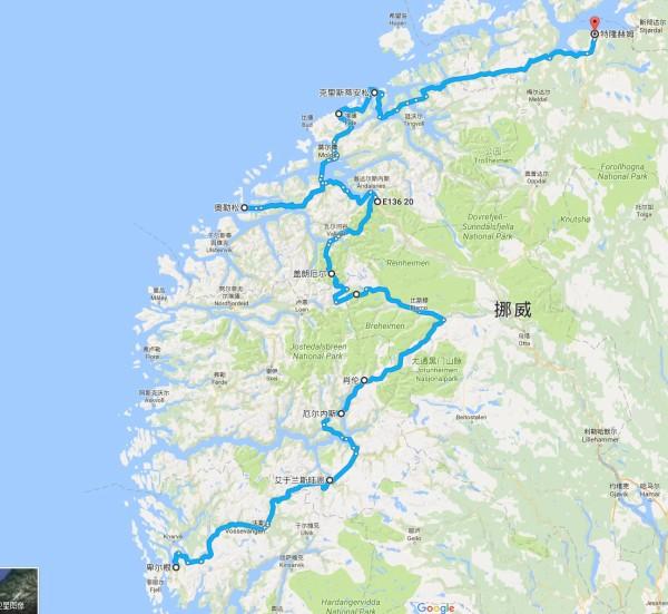 64号公路的atlanterhavsvegen 大西洋之路 挪威段的行程地图