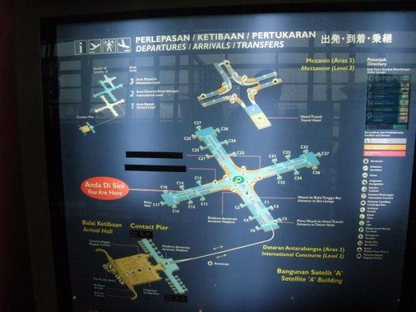 2#航站楼平面示意图 摄于吉隆坡机场2#航站楼d1日18点16分