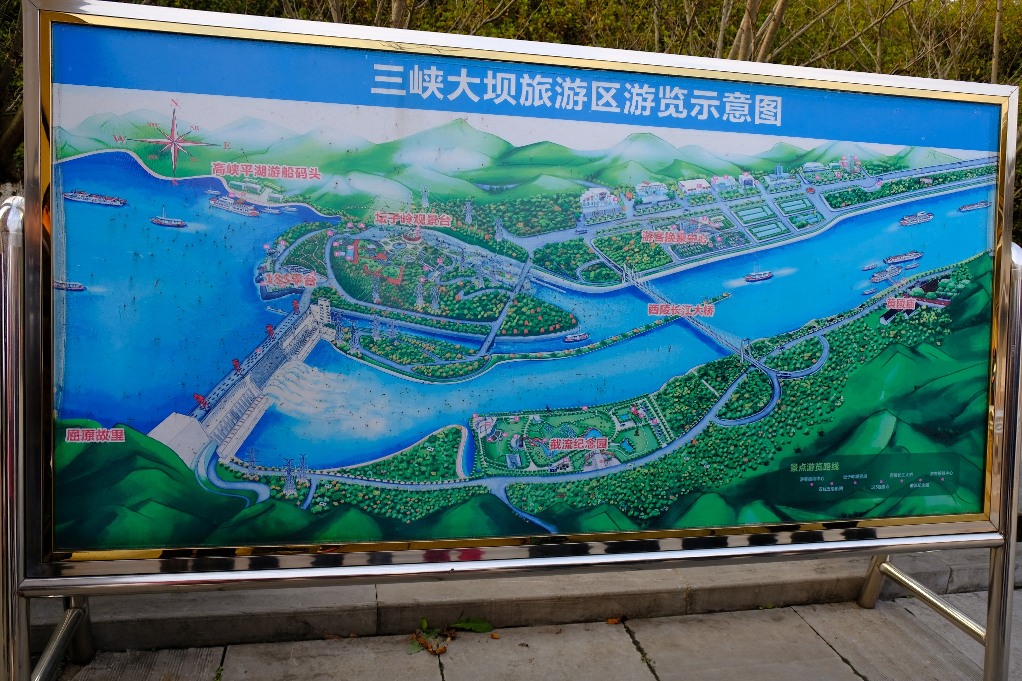 yangtze river cruise Three Gorges Dam tourist map